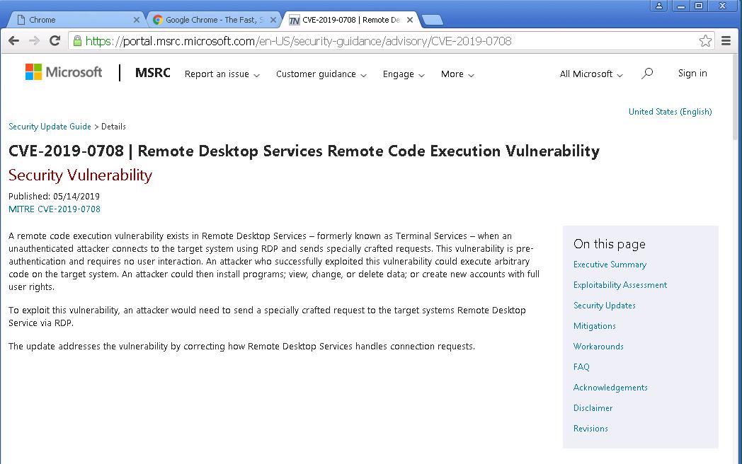 Hướng dẫn cập nhật bản vá lỗ hổng bảo mật CVE-2019-0708 trên Windows